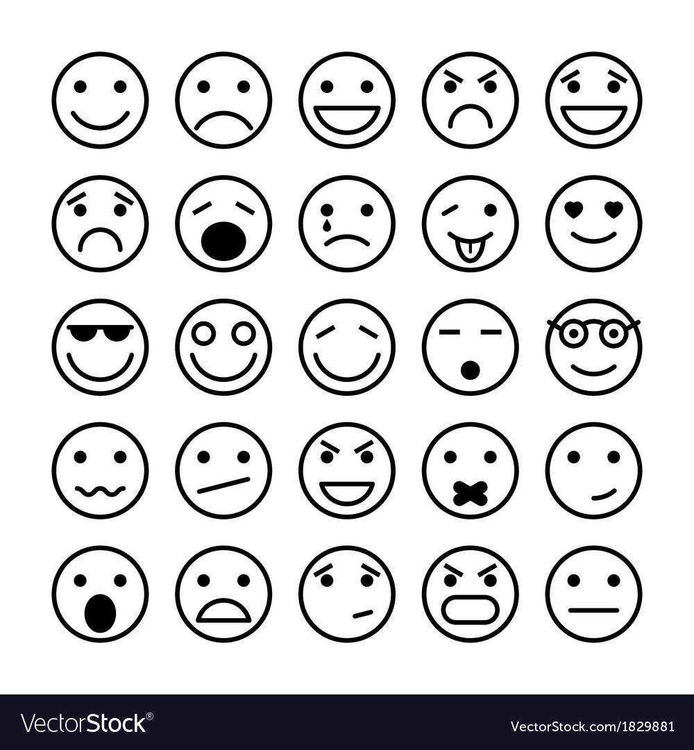 Smiley faces elements for website design vector | Price: 1 Credit (USD $1)