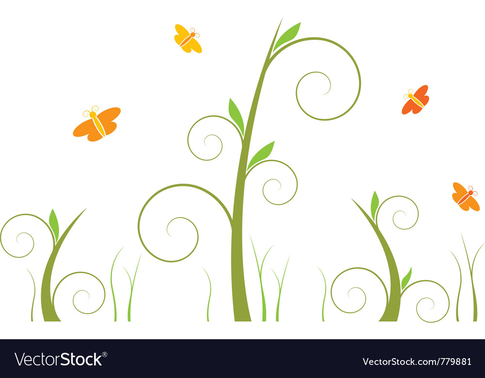 Swirls and butterflies vector | Price: 1 Credit (USD $1)