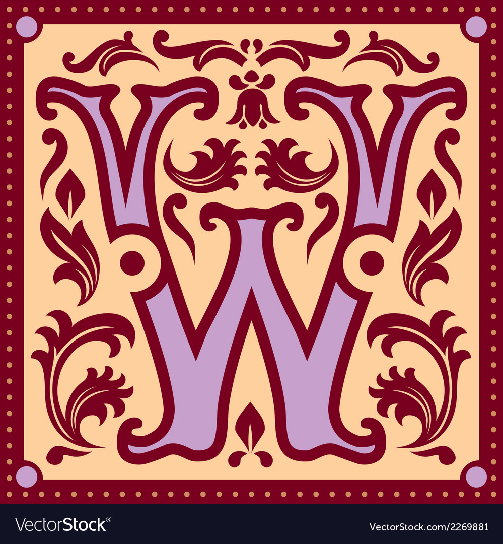Vintage letter w vector | Price: 1 Credit (USD $1)