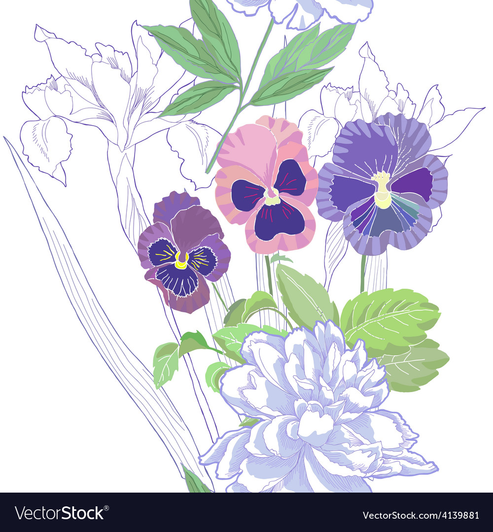 White seamless pattern with peonies and pansy vector | Price: 1 Credit (USD $1)