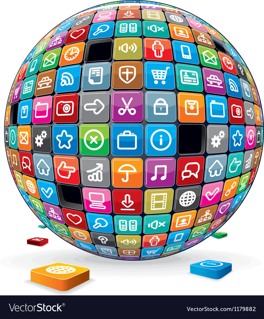 Abstract sphere with application icons image vector | Price: 1 Credit (USD $1)