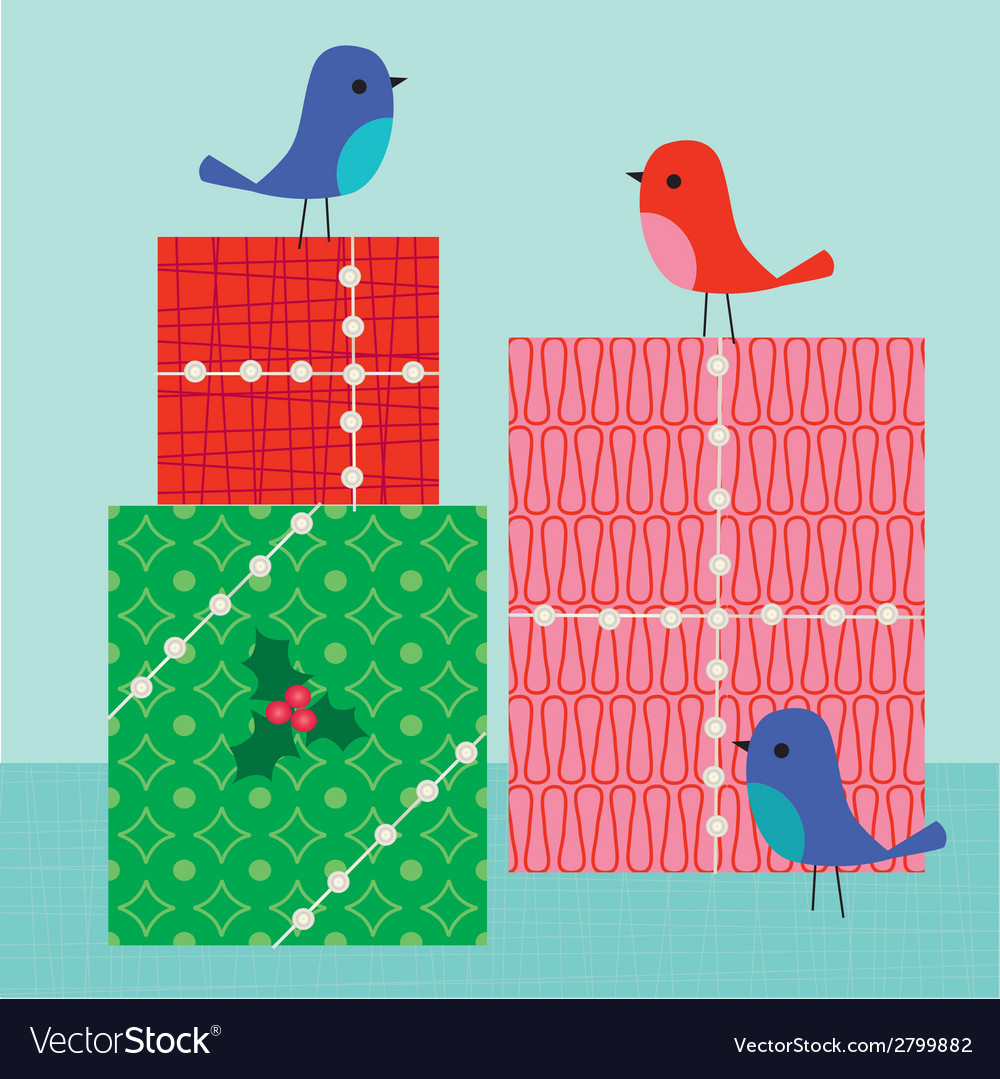 Birds and gifts vector