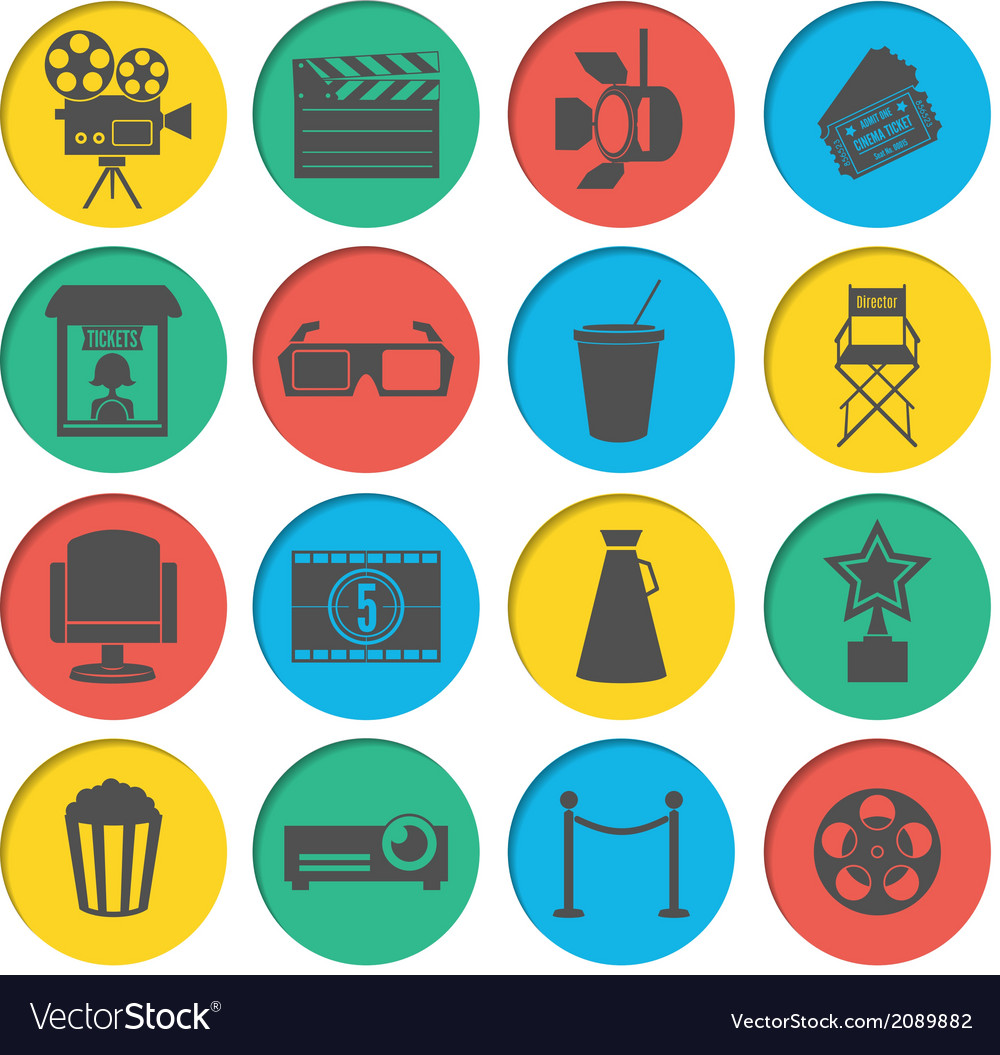 Cinema icons set vector | Price: 1 Credit (USD $1)