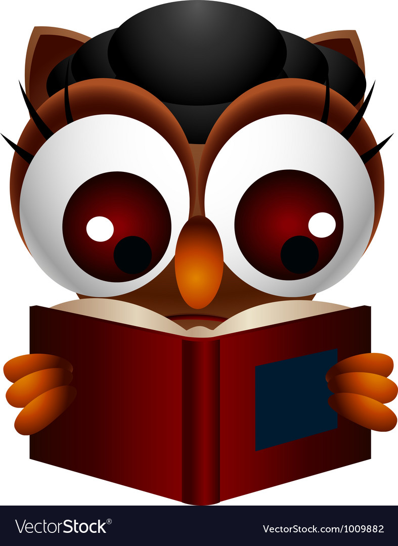 Cute owl reading book vector   Price: 3 Credit (USD $3)