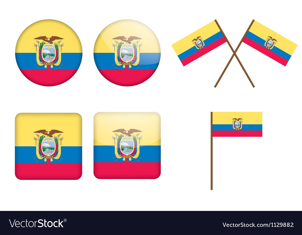 Ecuador flag badges vector | Price: 1 Credit (USD $1)