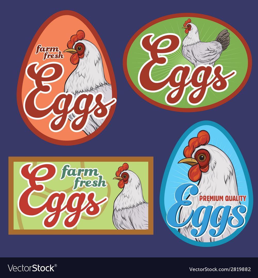 Eggs vintage labels set vector | Price: 1 Credit (USD $1)
