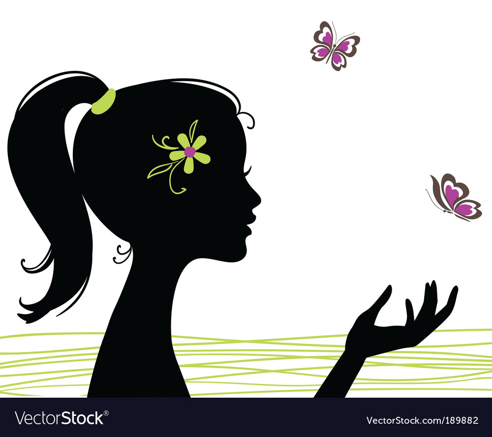 Girl silhouette with butterfly vector | Price: 1 Credit (USD $1)