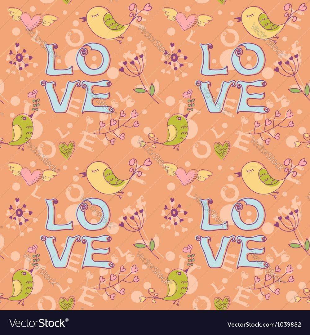 Love seamless texture with flowers and birds vector | Price: 1 Credit (USD $1)