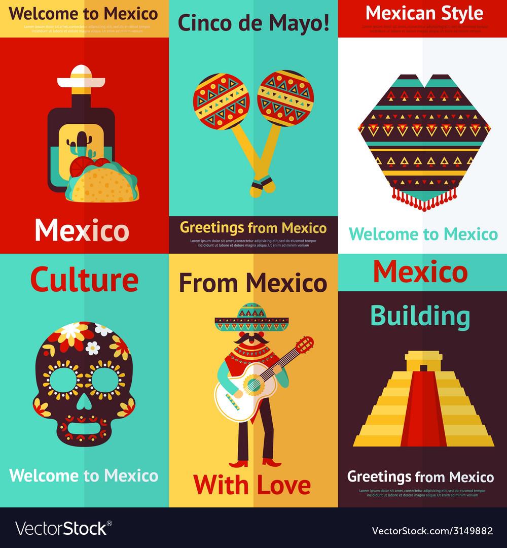 Mexico retro poster vector | Price: 1 Credit (USD $1)
