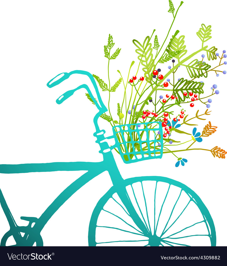 Retro summer bike with bunch of flowers card vector   Price: 1 Credit (USD $1)
