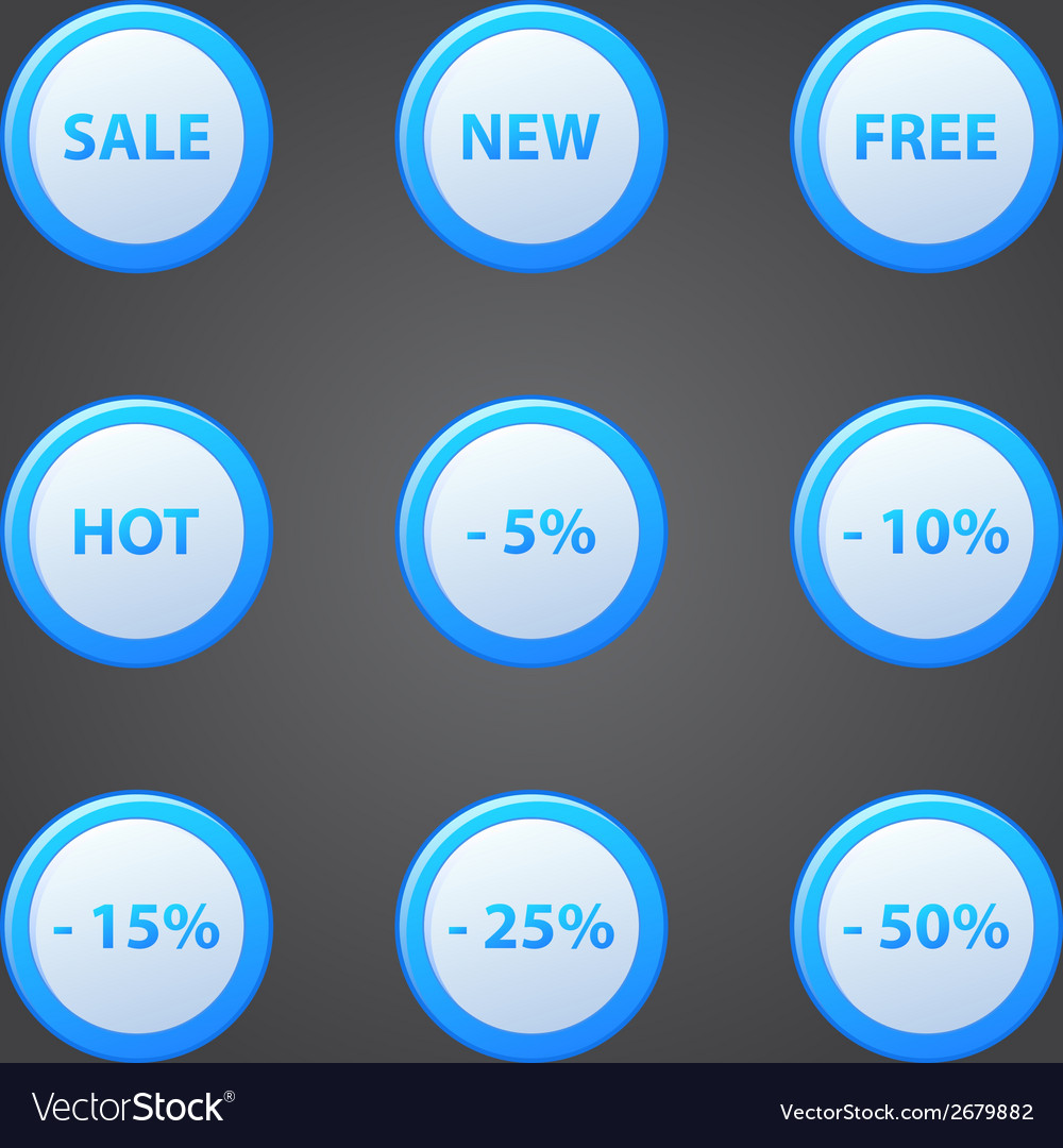 Shopping blue icons set - collection of sale vector | Price: 1 Credit (USD $1)