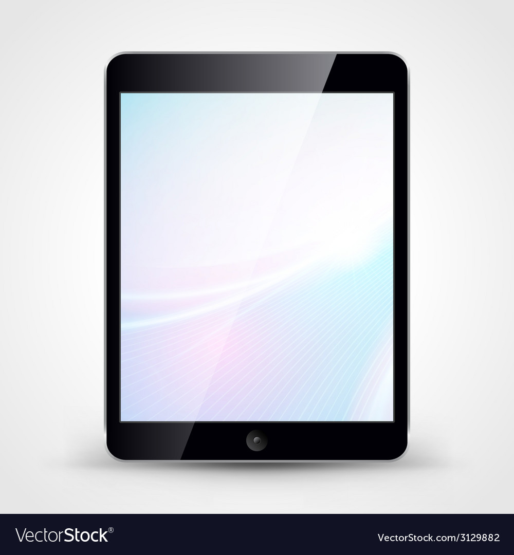 Tablet pc with wallpaper isolated on white vector | Price: 1 Credit (USD $1)