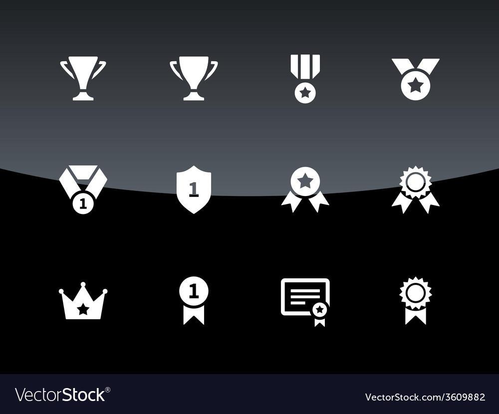 Trophy icons on black background vector | Price: 1 Credit (USD $1)