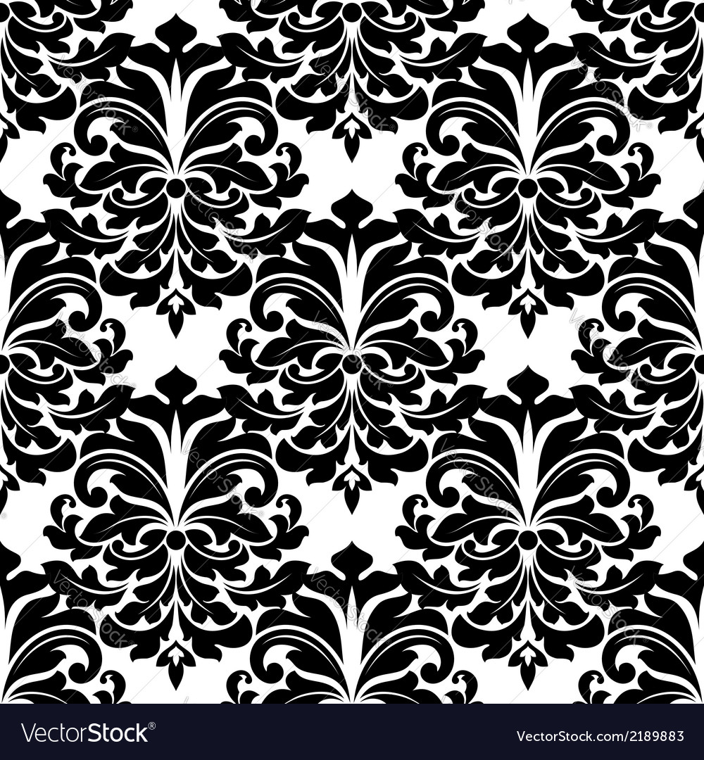 Black and white damask seamless pattern vector | Price: 1 Credit (USD $1)