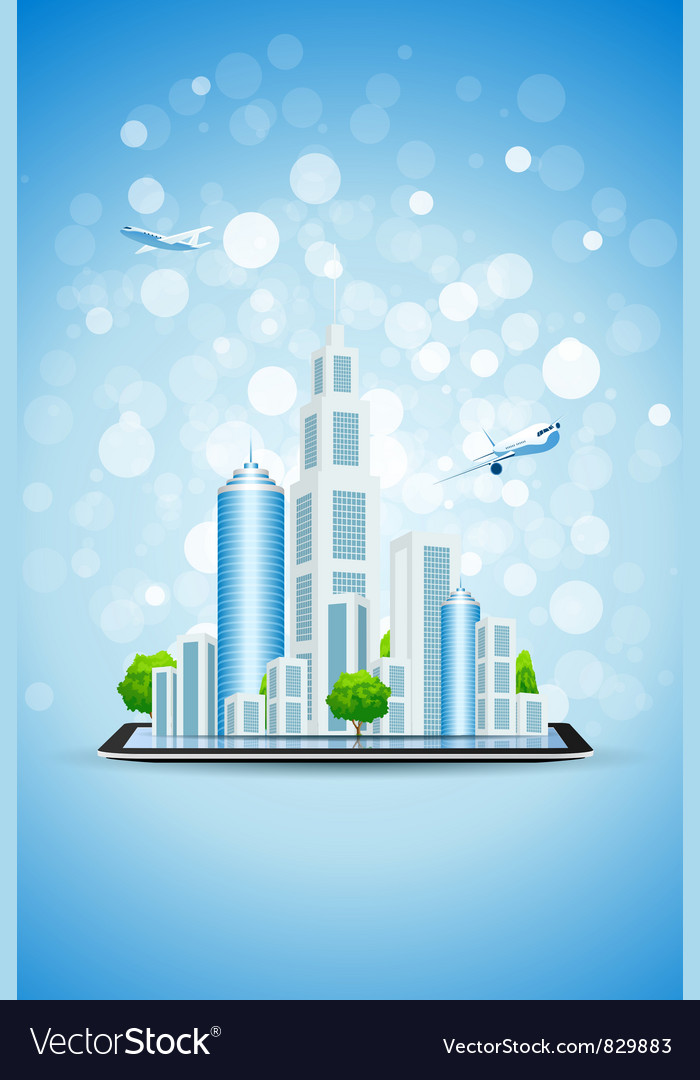 Blue background with business city on tablet compu vector | Price: 3 Credit (USD $3)