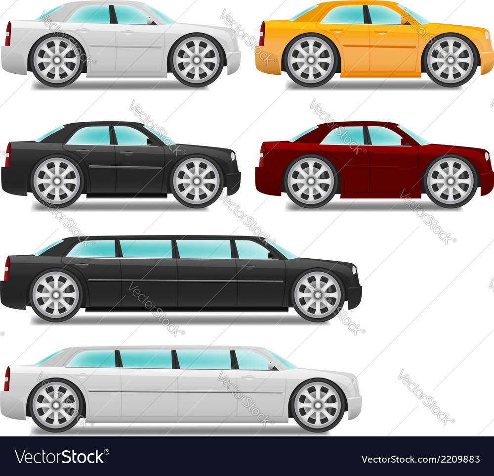 Cartoon cars with big wheels set sedan and limousi vector | Price: 1 Credit (USD $1)