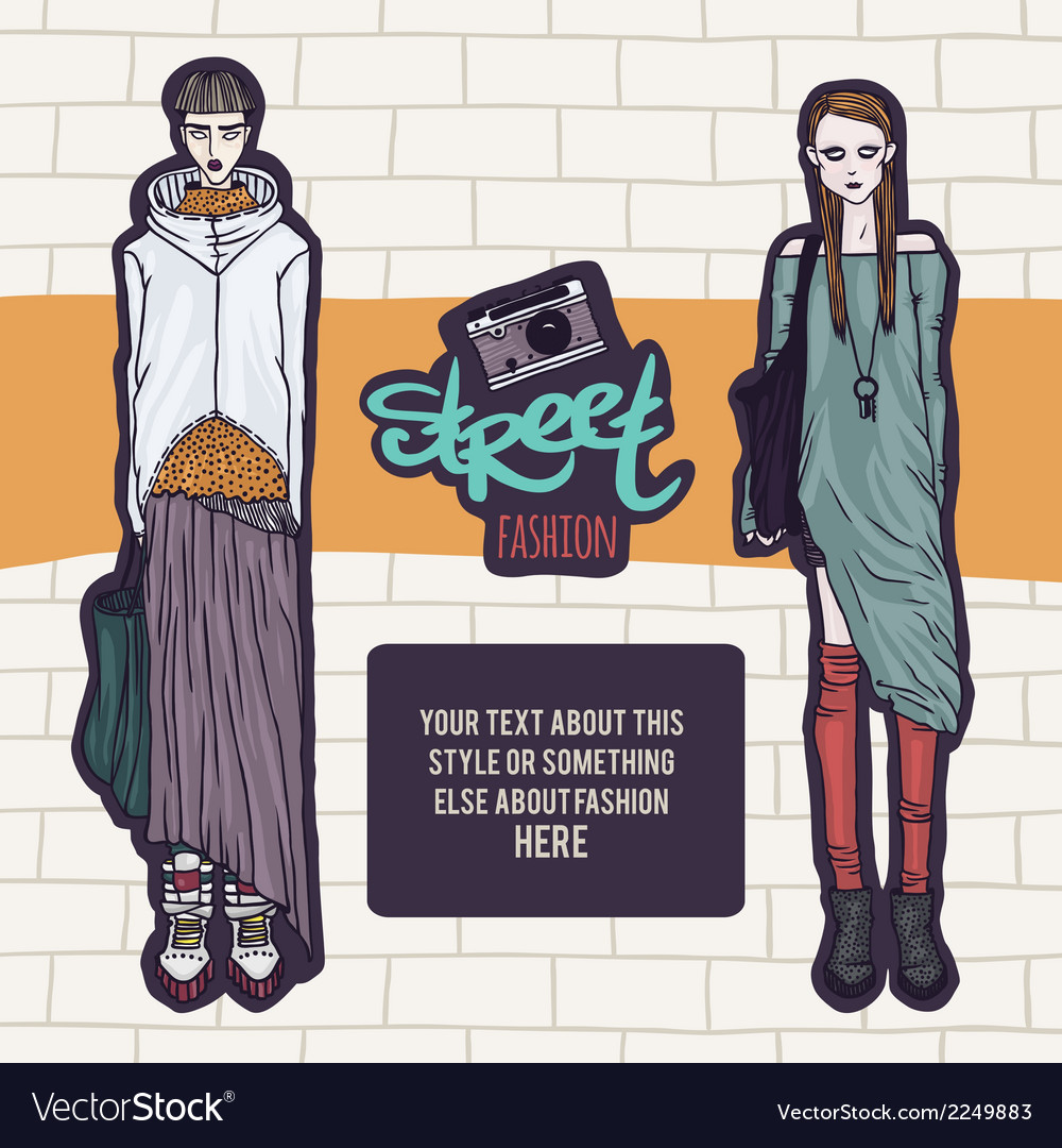 Double street fashion look vector | Price: 1 Credit (USD $1)