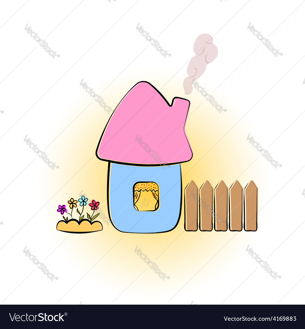 Drawing rural house vector | Price: 1 Credit (USD $1)
