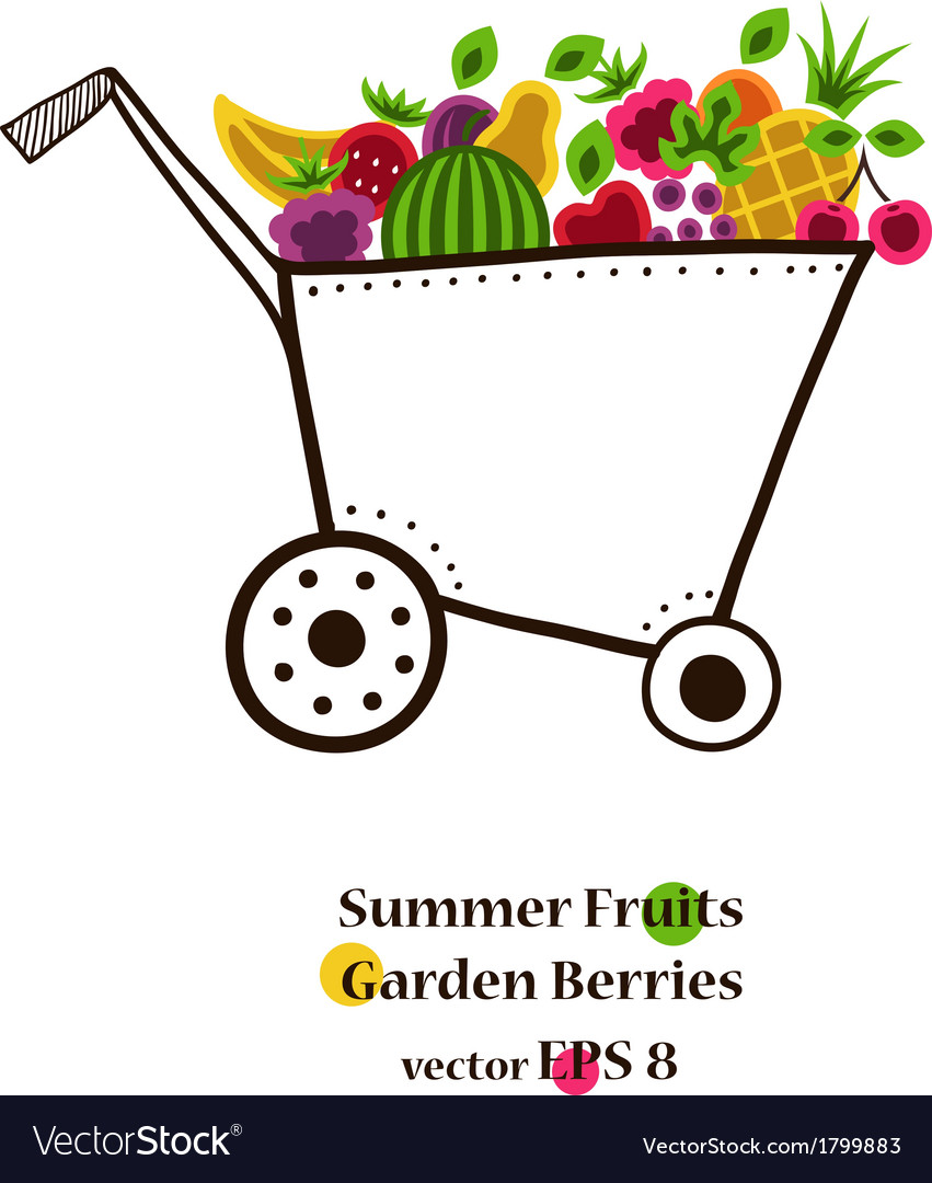 Garden cart with bright fruits and berries vector | Price: 1 Credit (USD $1)