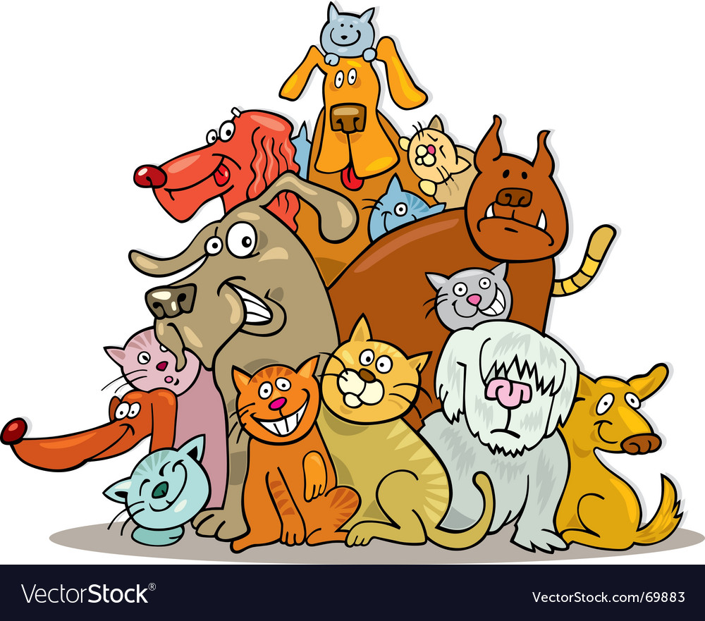 Group of cats and dogs vector | Price: 3 Credit (USD $3)