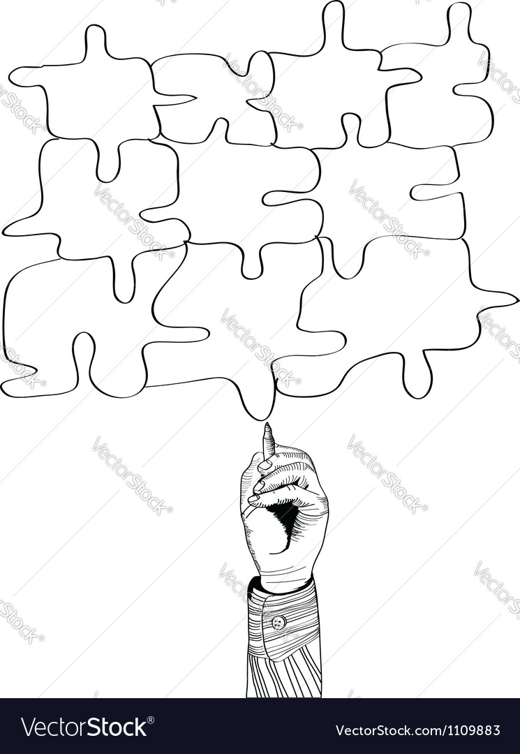 Hand drawing puzzle by pen vector   Price: 1 Credit (USD $1)