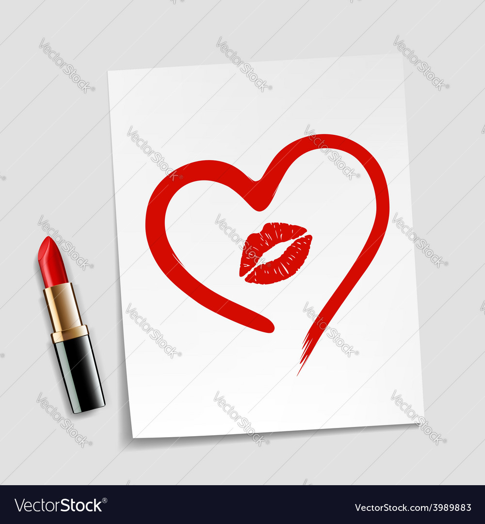 Heart drawn in lipstick and lip imprint vector | Price: 1 Credit (USD $1)
