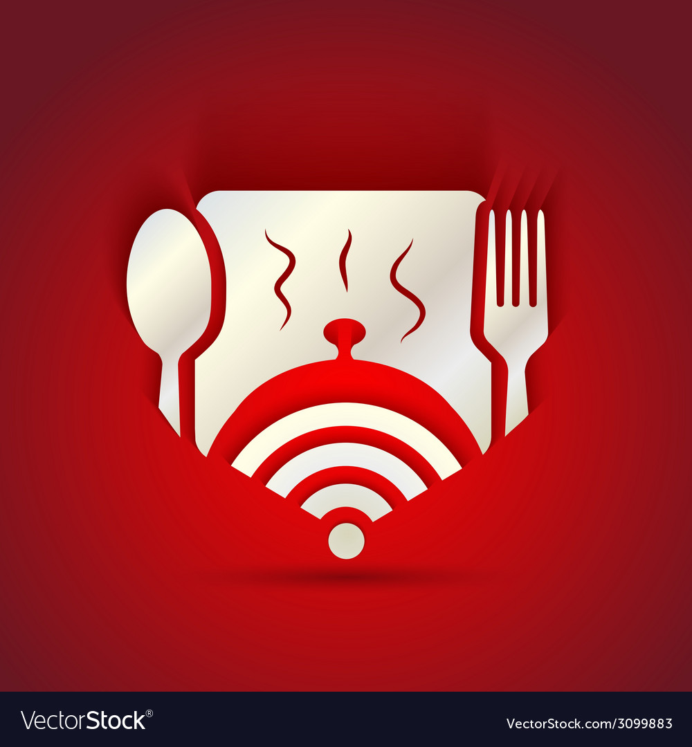 Icon concept for restaurant menu and free wifi vector | Price: 1 Credit (USD $1)