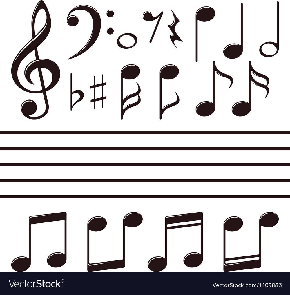 Icons set music note vector | Price: 1 Credit (USD $1)