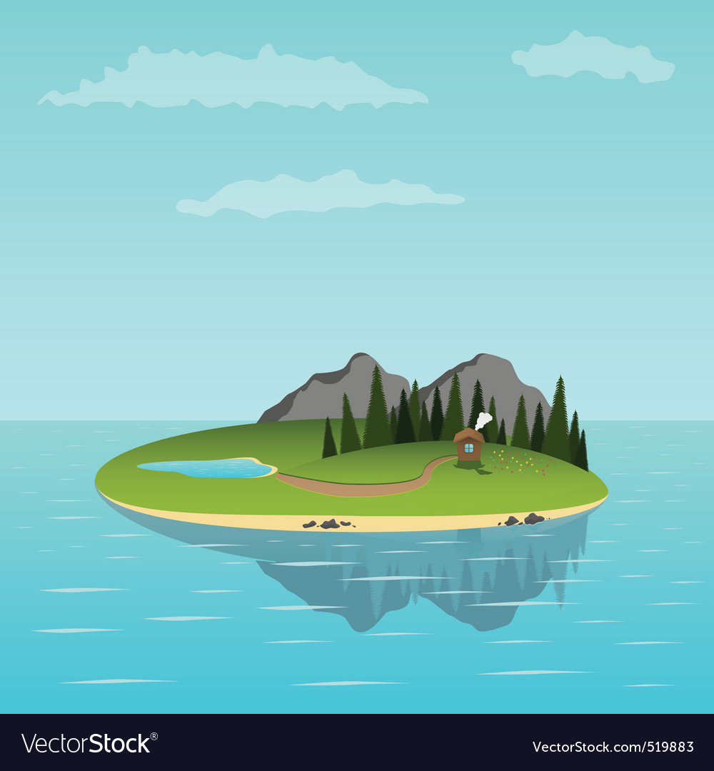 Island in the sea vector | Price: 1 Credit (USD $1)