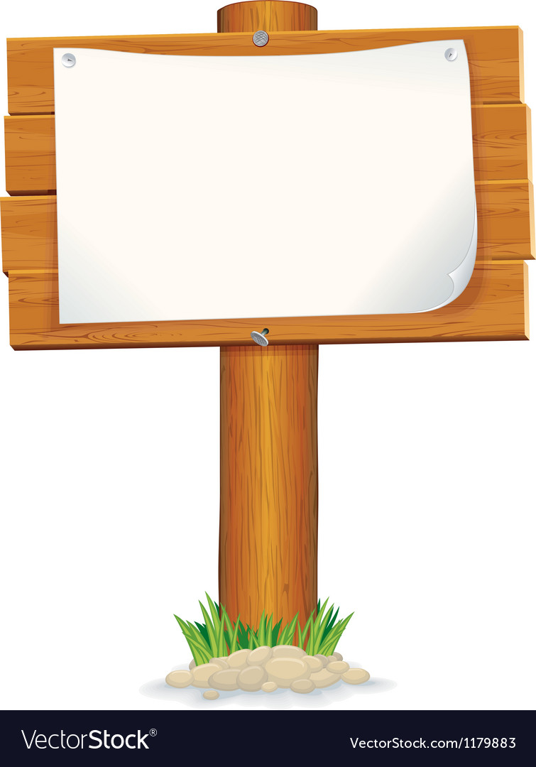 Isolated wooden sign with paper graphics vector