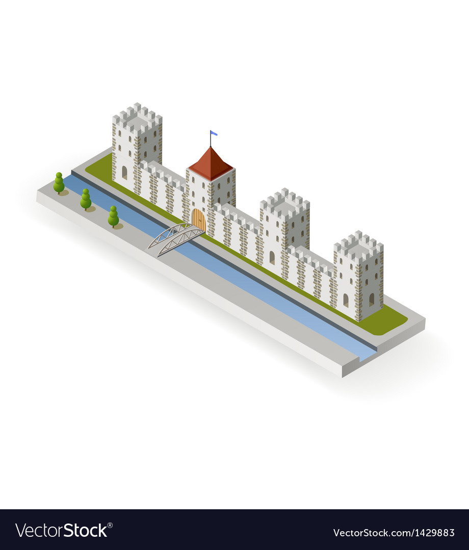 Isometric medieval castle vector | Price: 1 Credit (USD $1)
