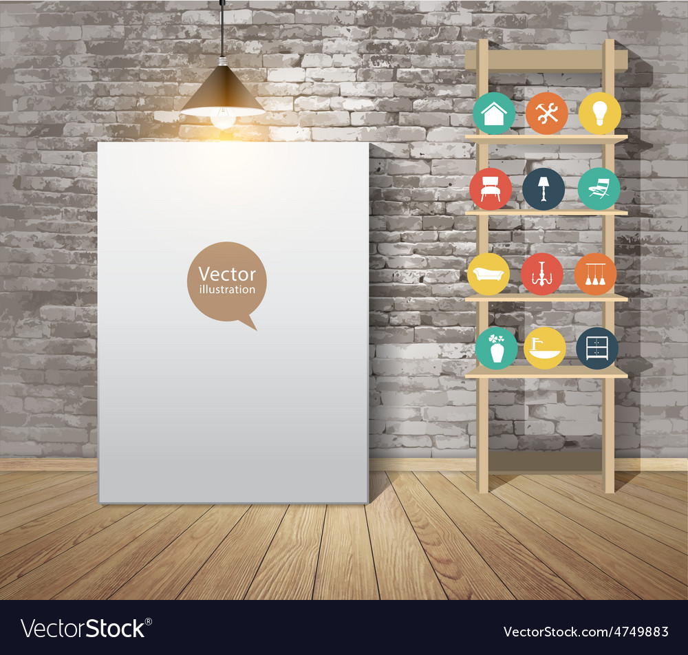 Mock up poster with vintage hipster loft interior vector