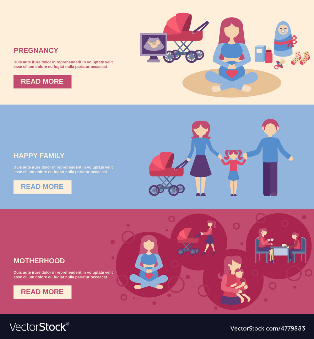 Motherhood banner set vector | Price: 3 Credit (USD $3)