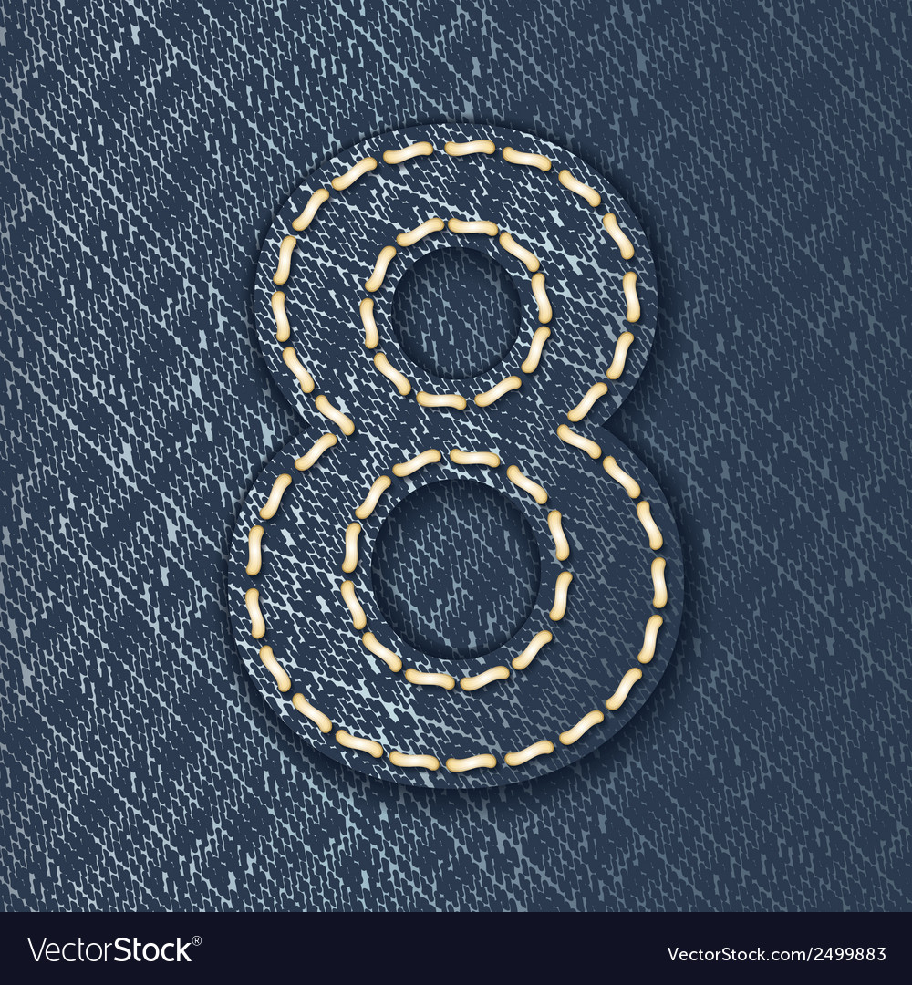 Number 8 made from jeans fabric vector | Price: 1 Credit (USD $1)