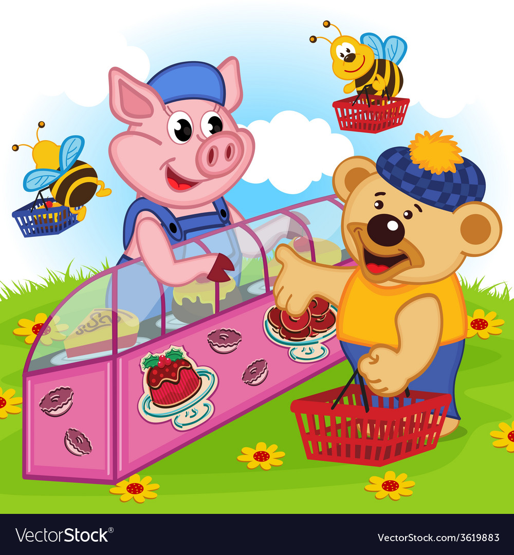 Pig seller of cakes vector | Price: 3 Credit (USD $3)