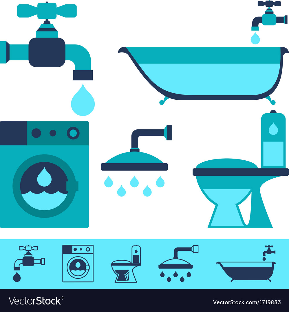 Plumbing equipment icons in flat design style vector | Price: 1 Credit (USD $1)