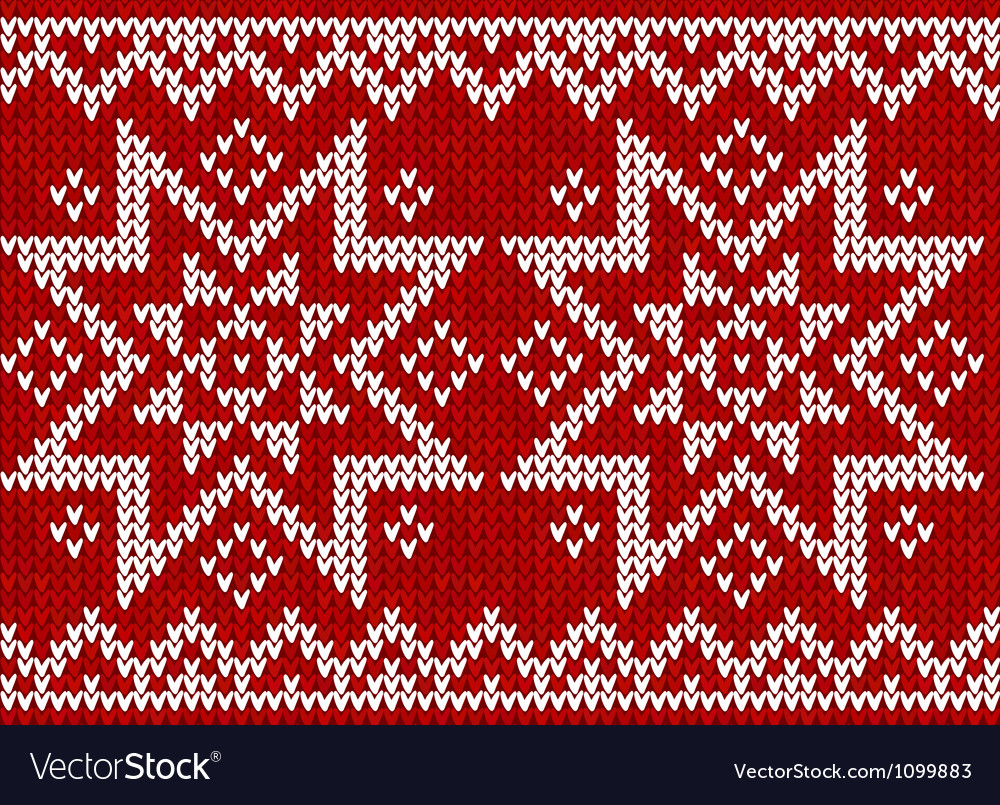 Red knitted stars sweater in norwegian style vector | Price: 1 Credit (USD $1)