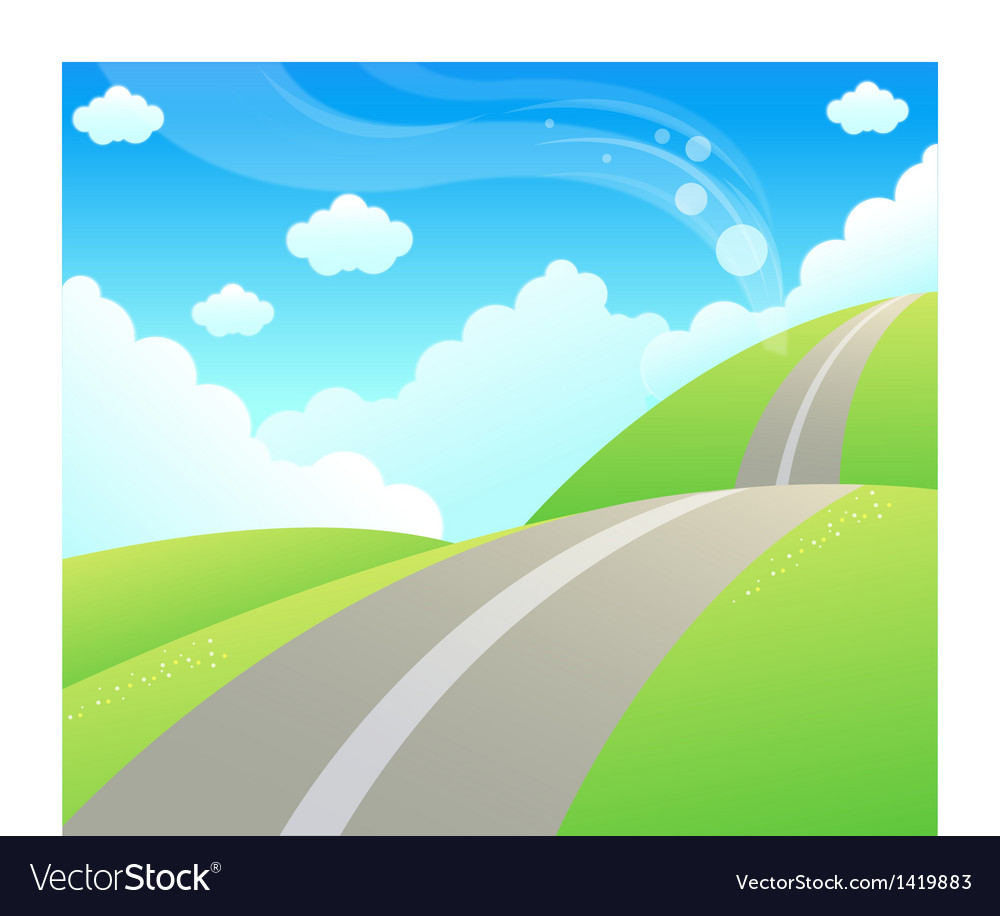 Road over green mountain and sky vector | Price: 1 Credit (USD $1)