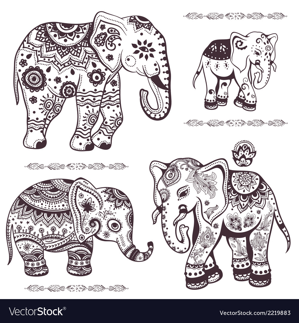 Set of hand drawn ethnic elephants vector | Price: 1 Credit (USD $1)