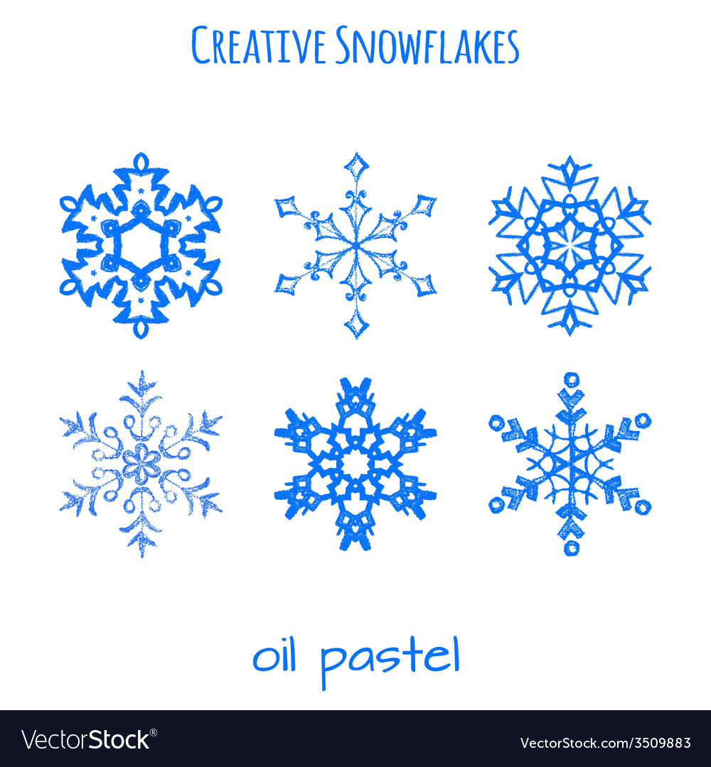 Set of snowflake hand drawn with oil pastels vector   Price: 1 Credit (USD $1)