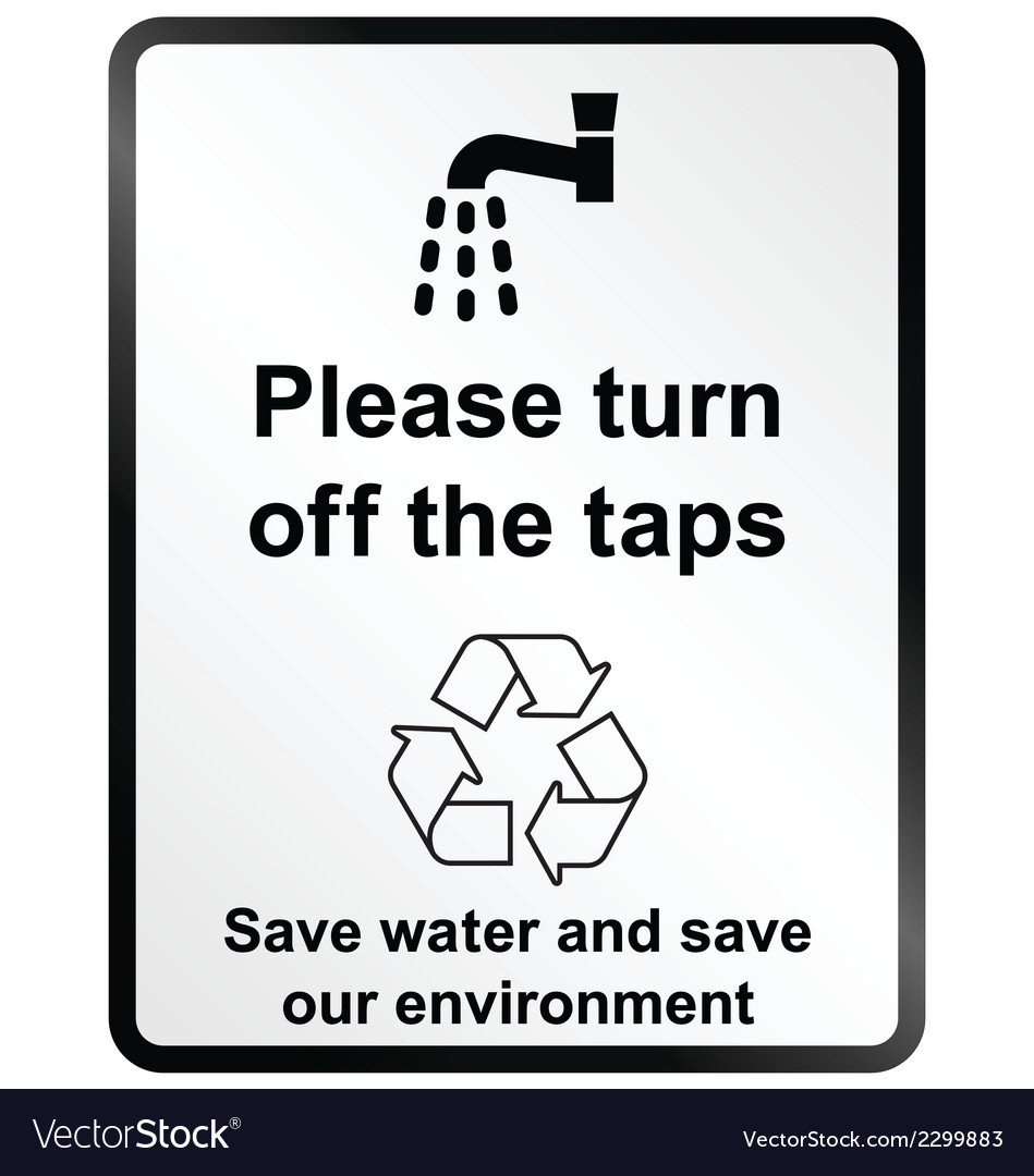 Turn off water information sign vector | Price: 1 Credit (USD $1)