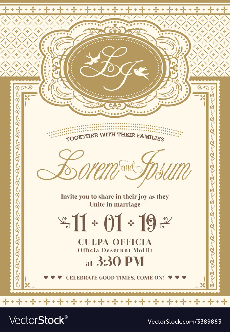 Vintage frame wedding invitation card background vector | Price: 1 Credit (USD $1)