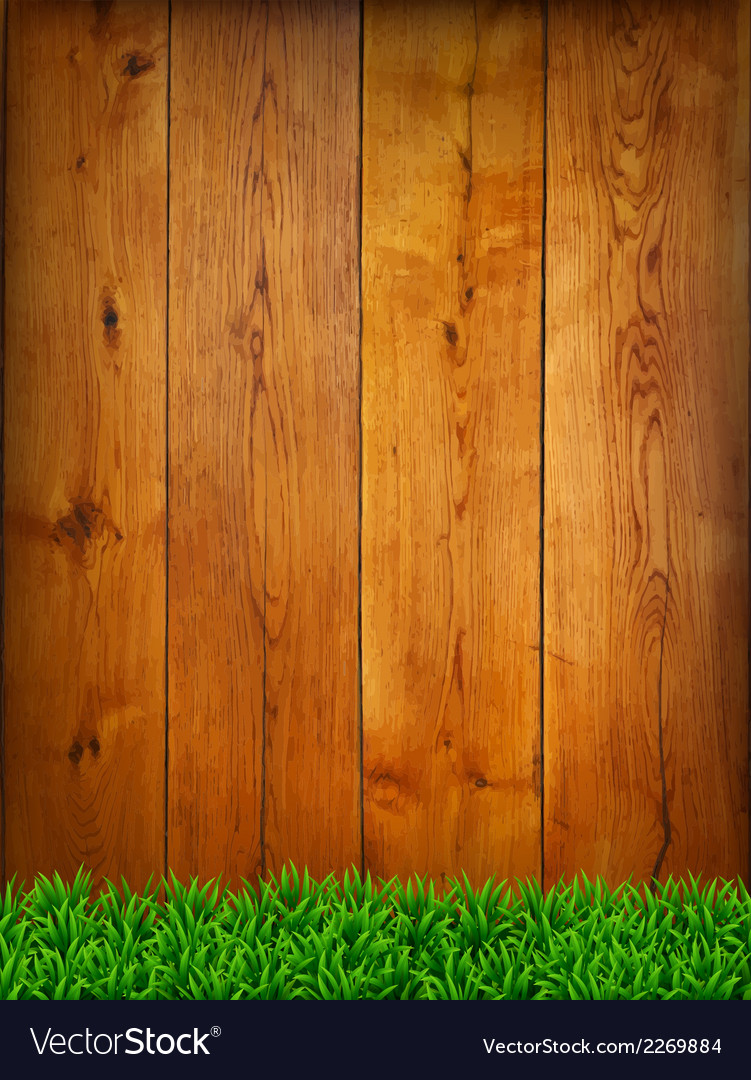Background from oak boards with green grass vector | Price: 1 Credit (USD $1)