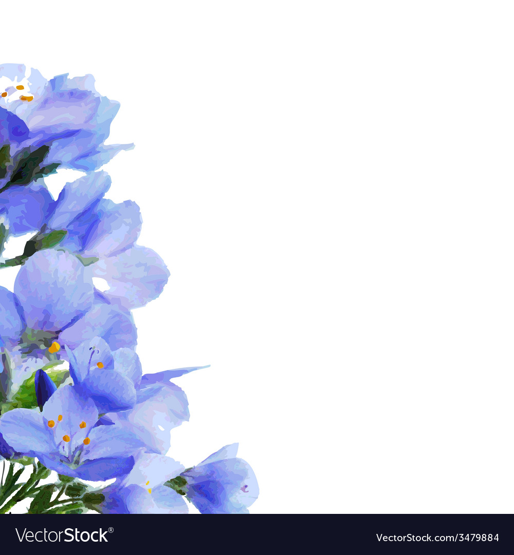 Blue flowers border vector | Price: 1 Credit (USD $1)