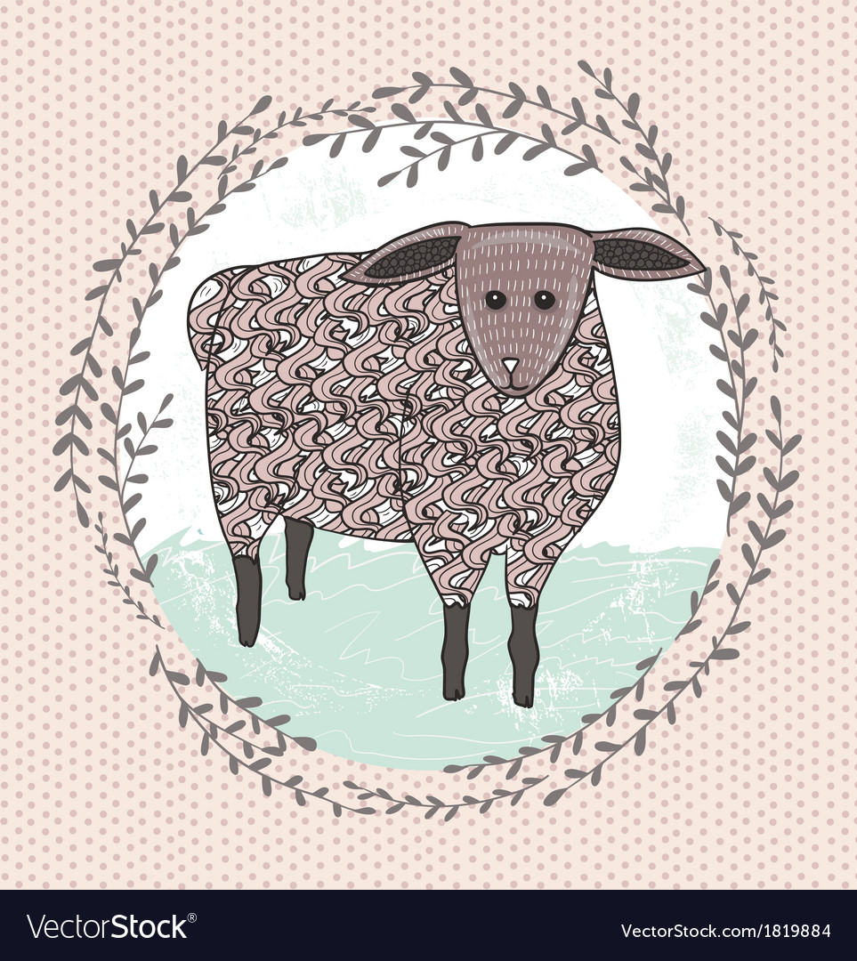 Cute little sheep for children vector | Price: 1 Credit (USD $1)