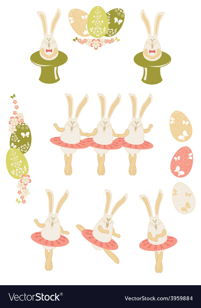 Easter bunnies easter set vector | Price: 1 Credit (USD $1)