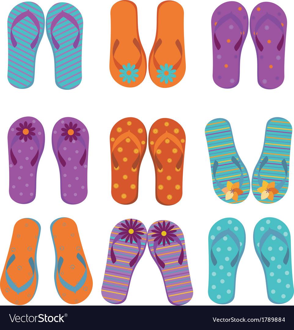 Flip flops set vector | Price: 1 Credit (USD $1)