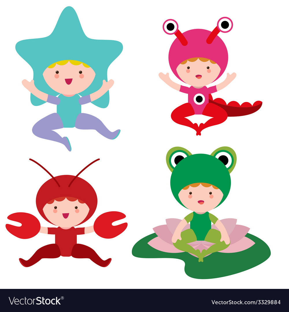 Four little kids in fantasy costumes vector | Price: 1 Credit (USD $1)