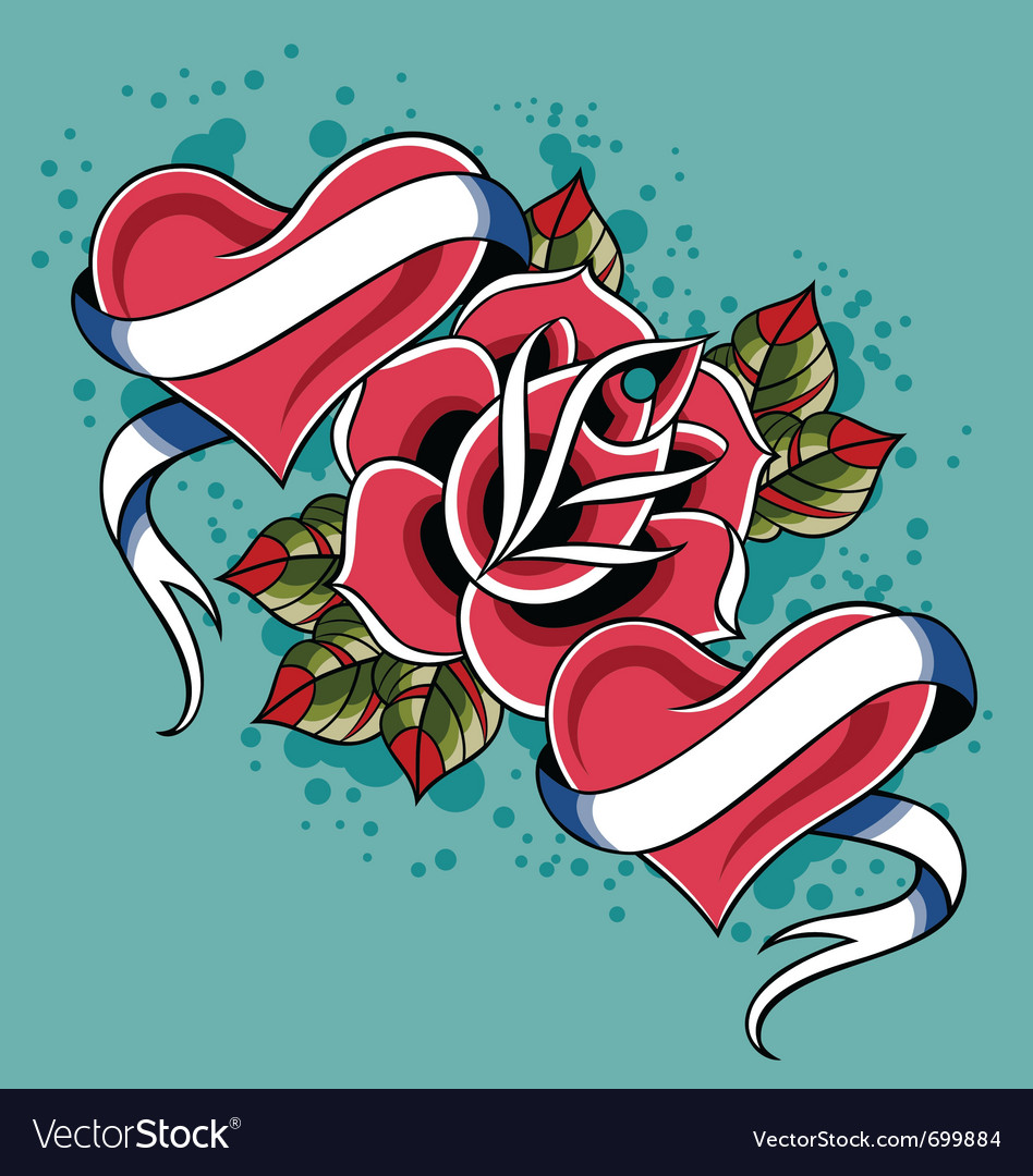 Heart rose tattoo vector | Price: 1 Credit (USD $1)