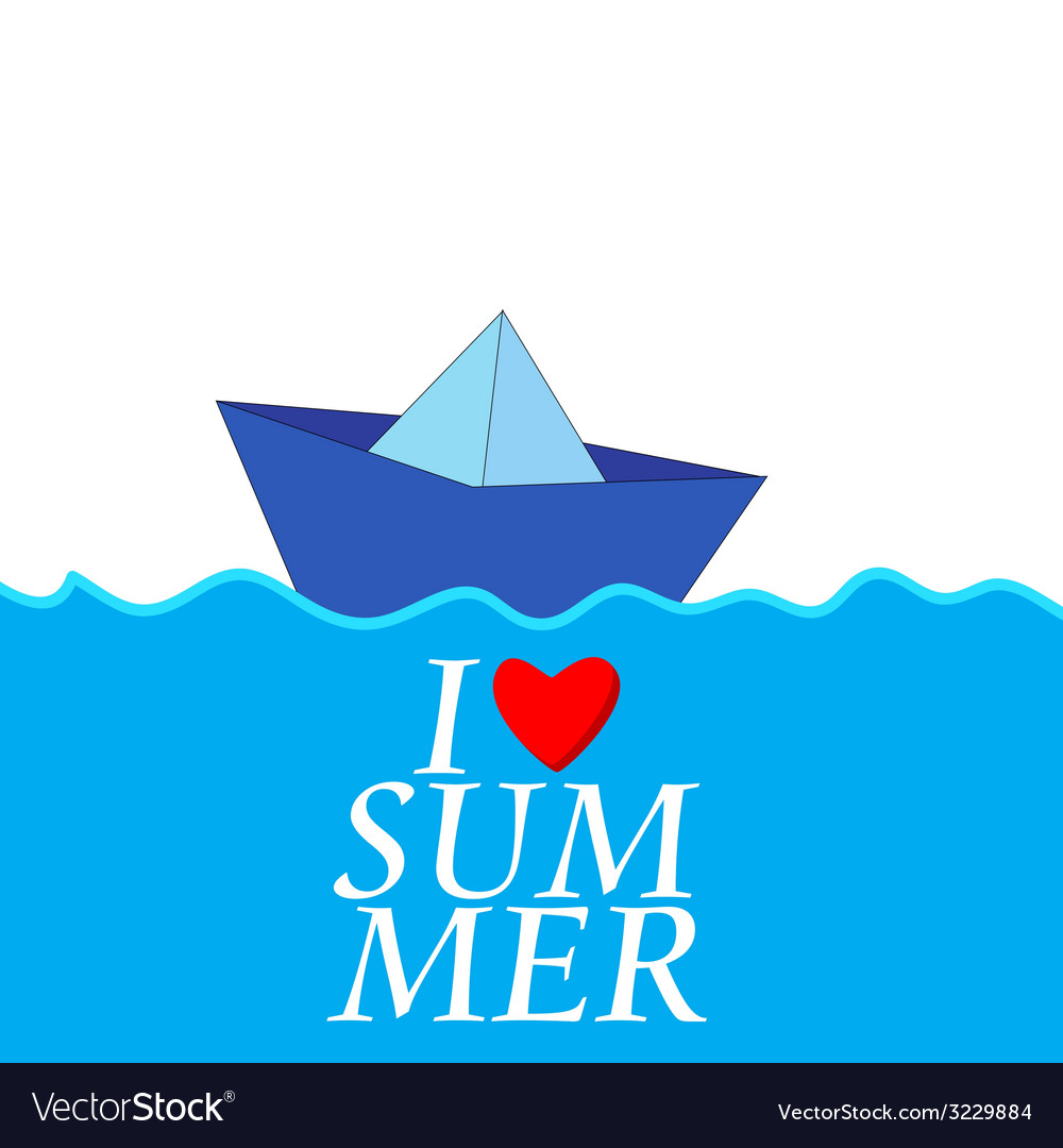 I love summer with paper boat color vector | Price: 1 Credit (USD $1)